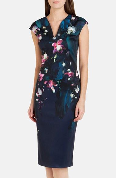 Lyst Ted Baker Antonya Floral Sheath Dress In Blue