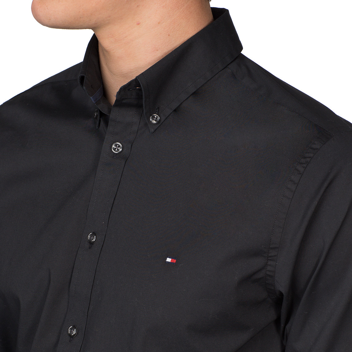 e8611c11d Tommy Hilfiger Stretch Poplin Slim Fit Shirt in Black for Men - Lyst
