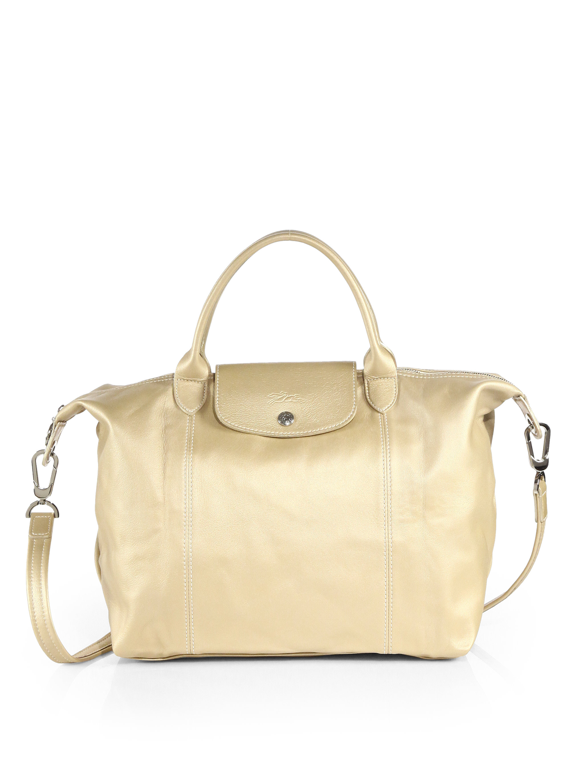 Longchamp Bag Le Pliage Colours : Longchamp le pliage cuir metallic leather top handle bag