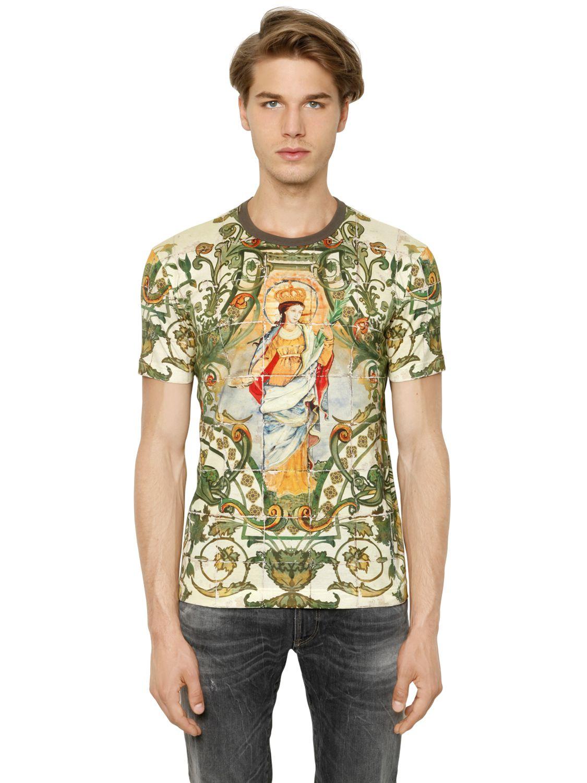 dolce gabbana madonna printed cotton t shirt in green for men lyst. Black Bedroom Furniture Sets. Home Design Ideas