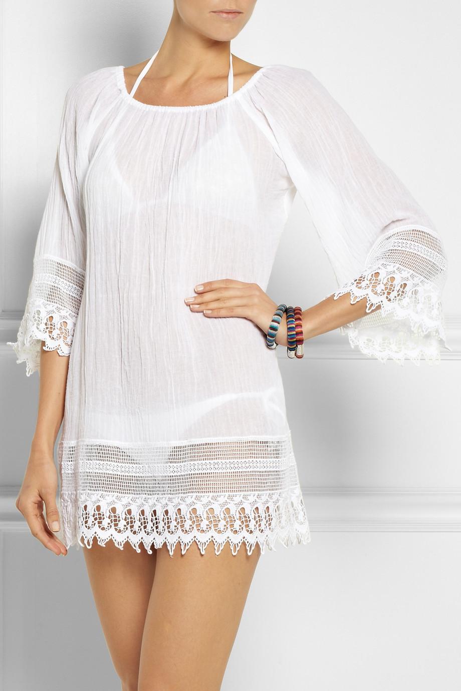 Lyst Miguelina Lillian Crochet Trimmed Cotton Gauze