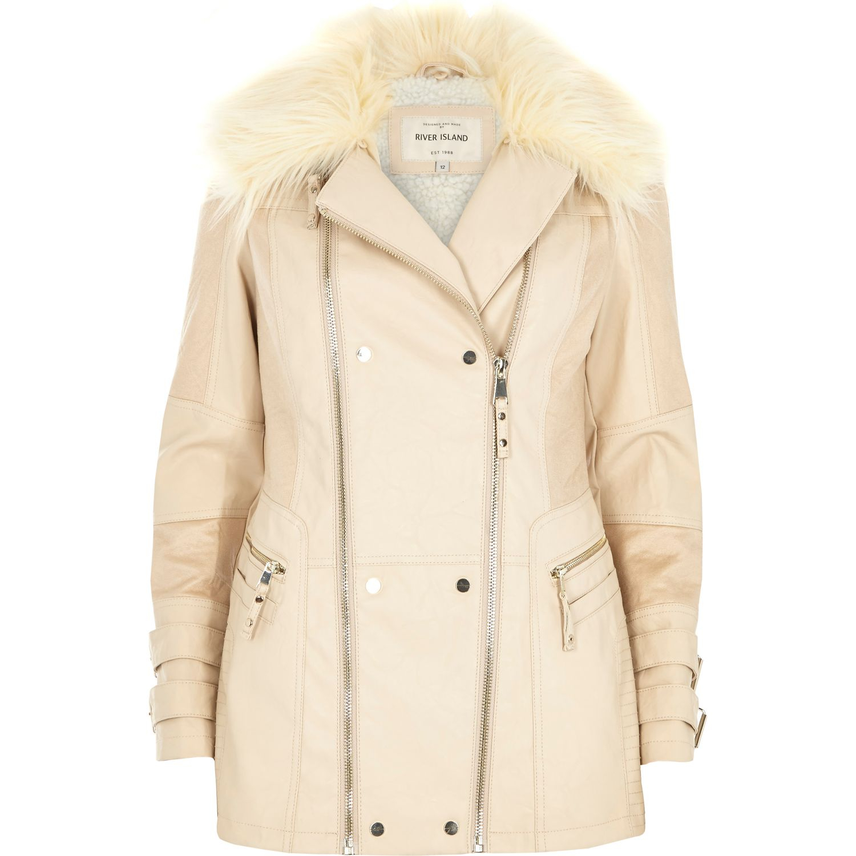 River Island Grey Faux Fur Collar Pea Coat Grey