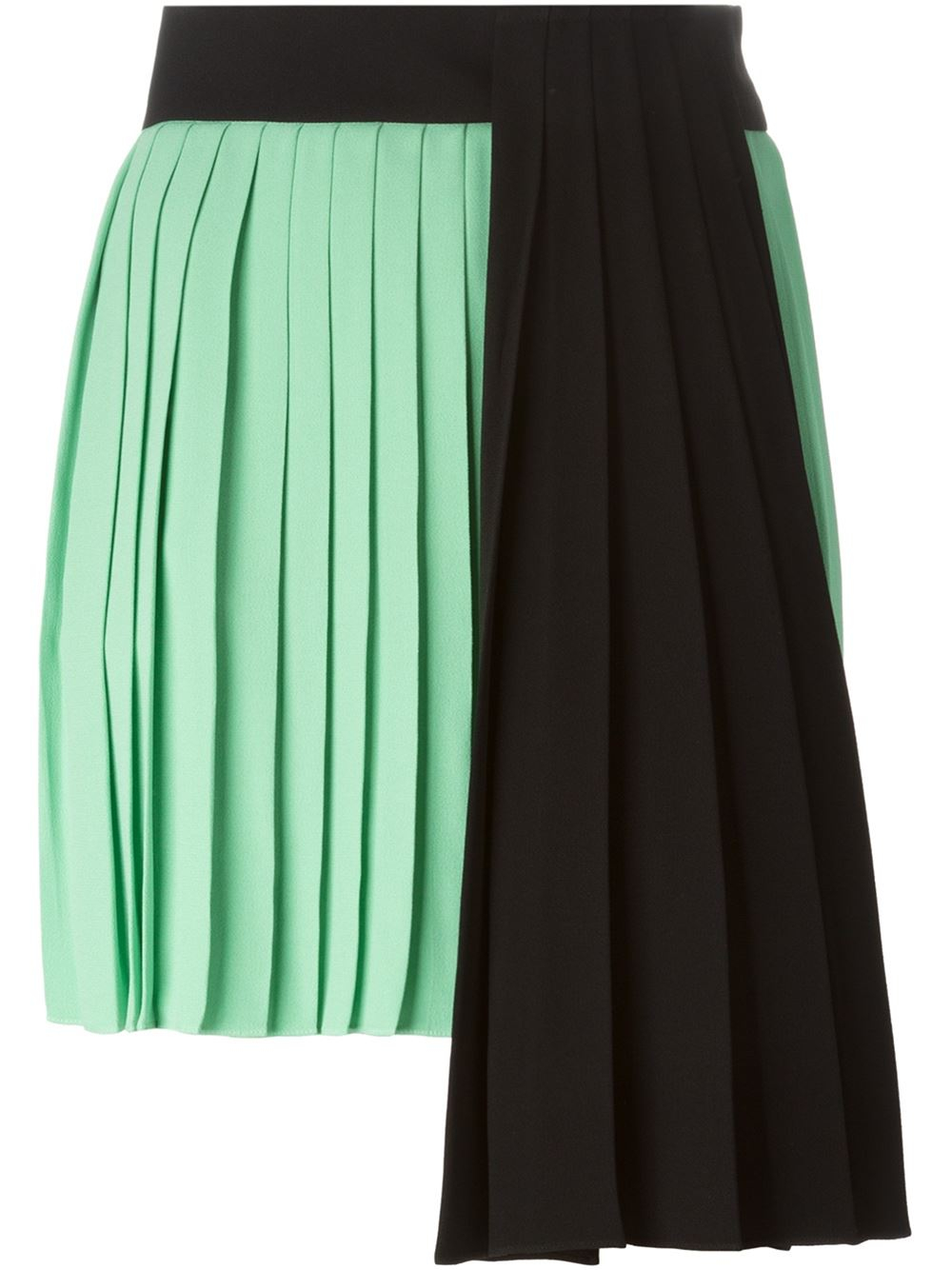 fausto puglisi pleated colour block skirt in green lyst