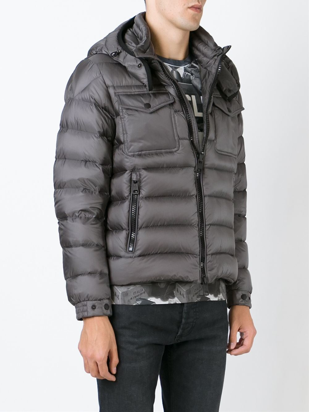 moncler grey padded jacket