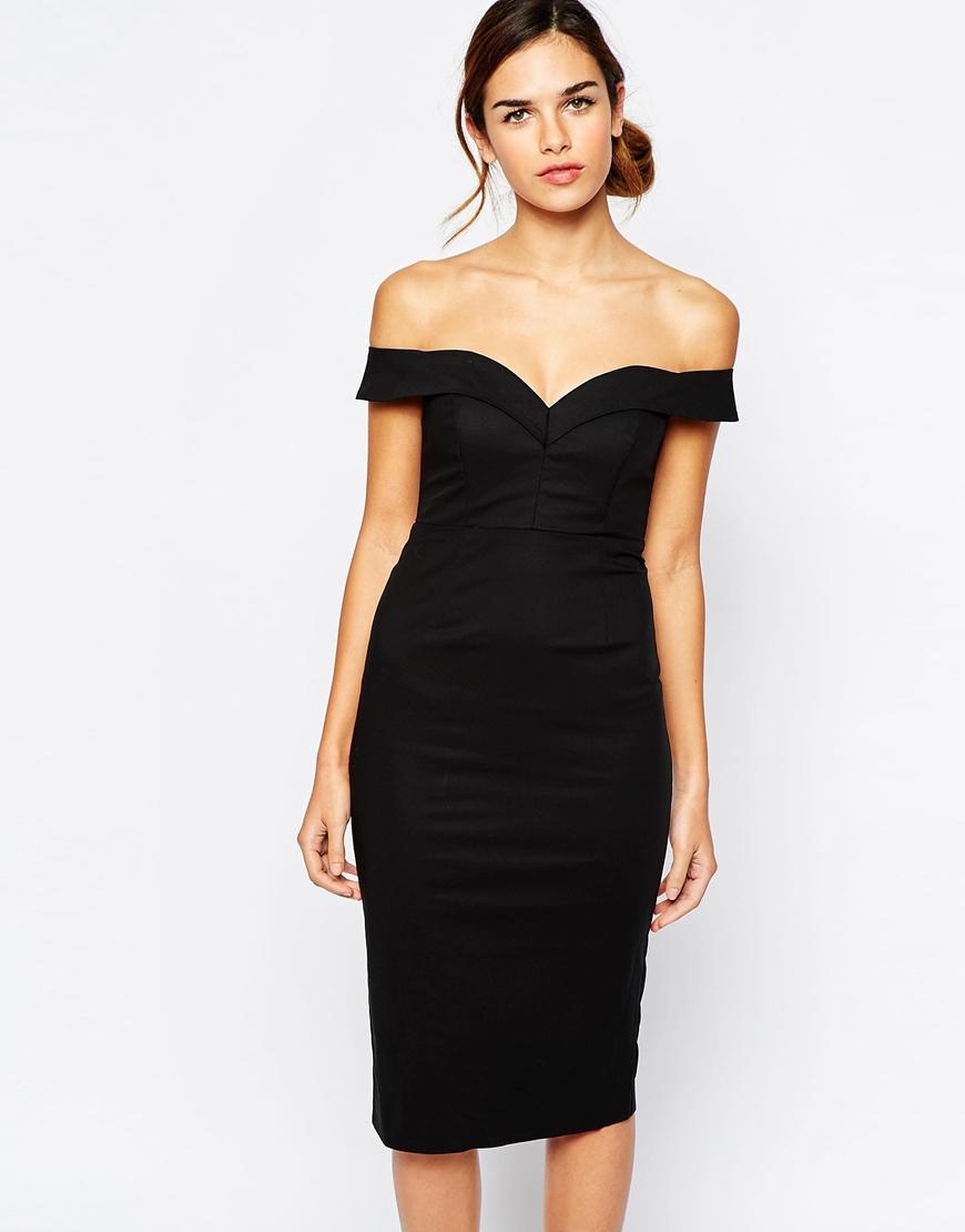 b64d1cc2ab95 Lyst - Bardot Sweetheart Off Shoulder Dress in Black