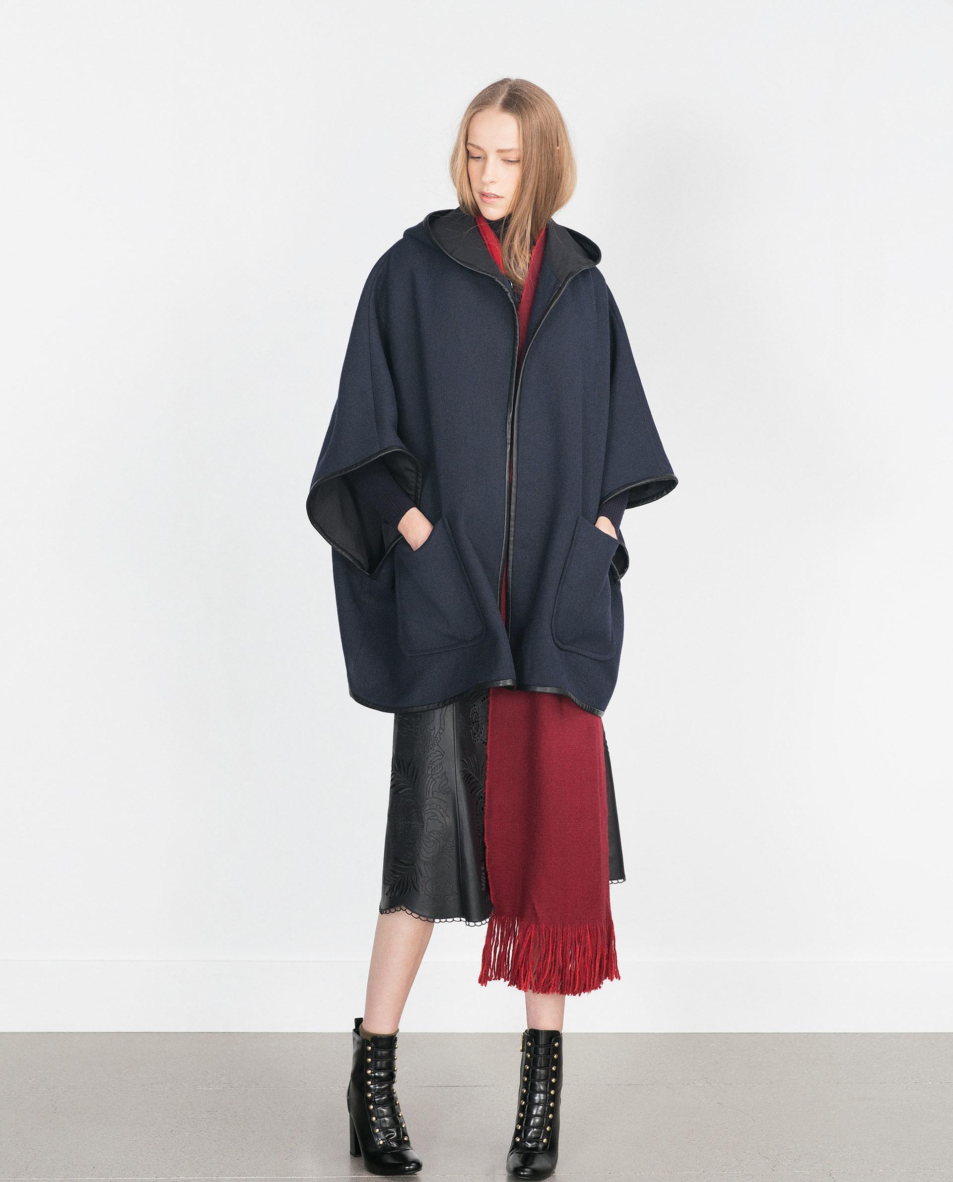 zara hooded wool cape in blue lyst. Black Bedroom Furniture Sets. Home Design Ideas