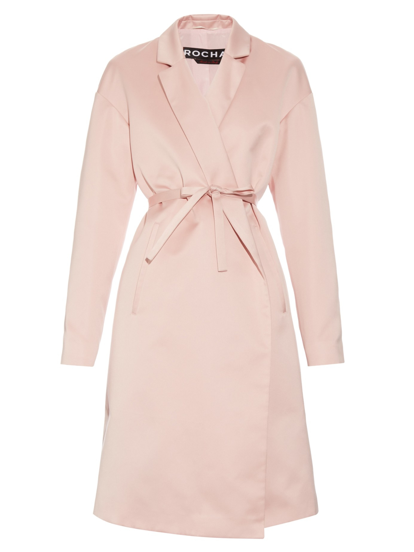 Rochas Self-tie Waist Duchess-satin Coat in Pink | Lyst