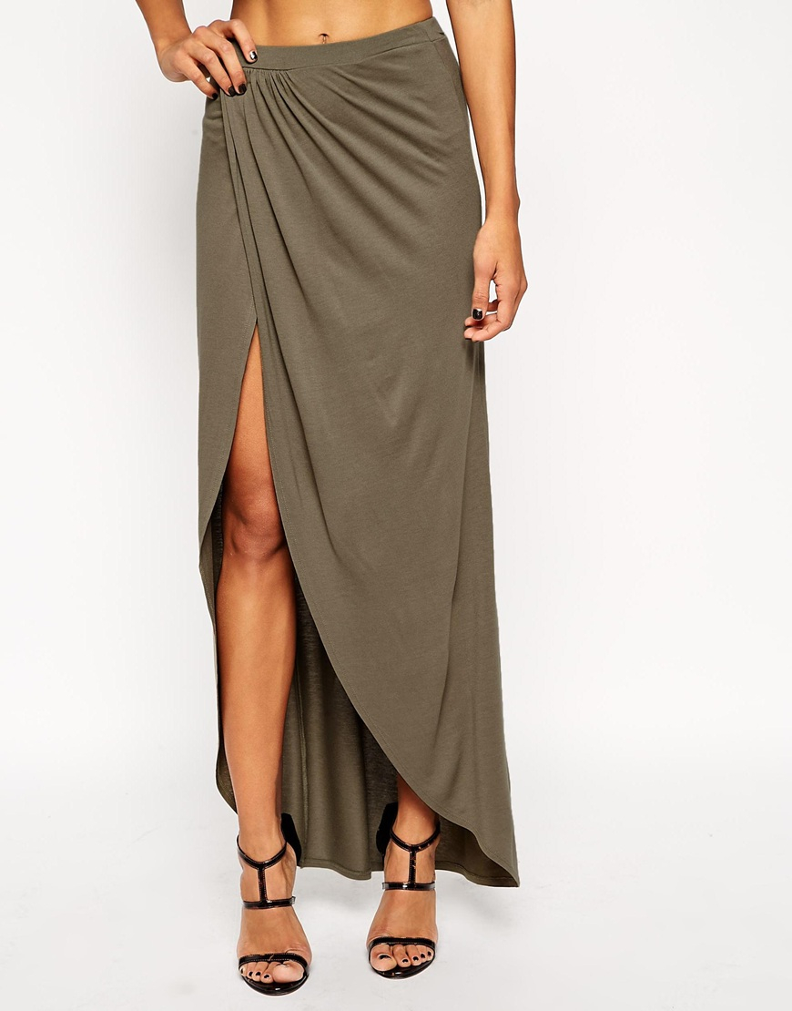 asos wrap maxi skirt in jersey in lyst