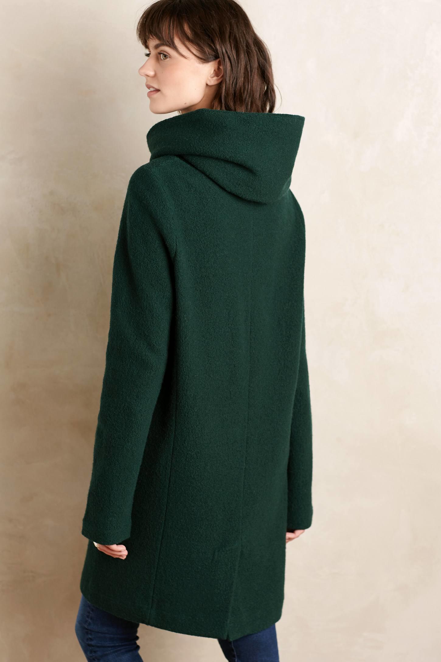 Moth Boiled Wool Sweater Coat in Green | Lyst