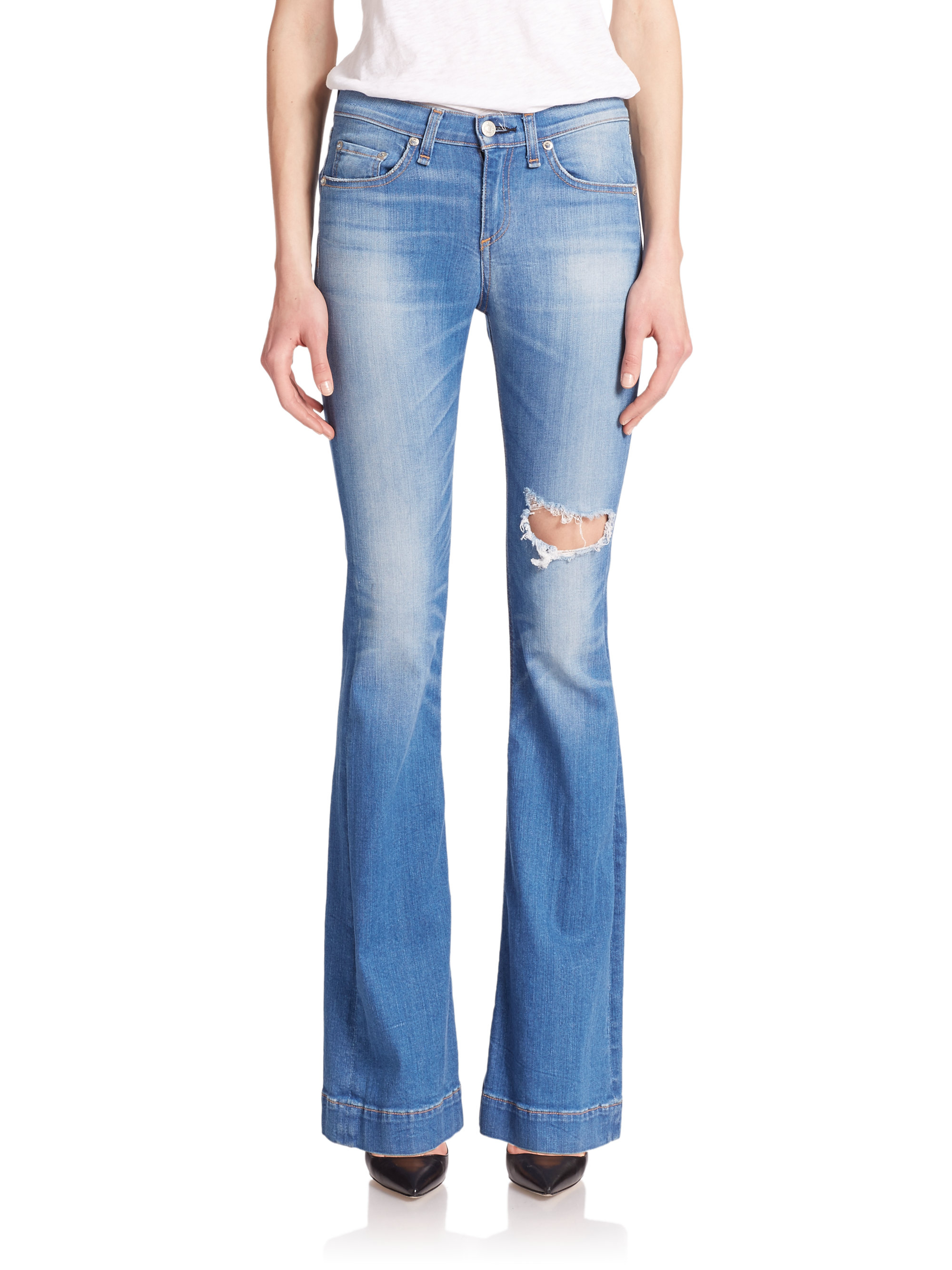 Rag & bone The High-rise Distressed Flare Jeans in Blue | Lyst
