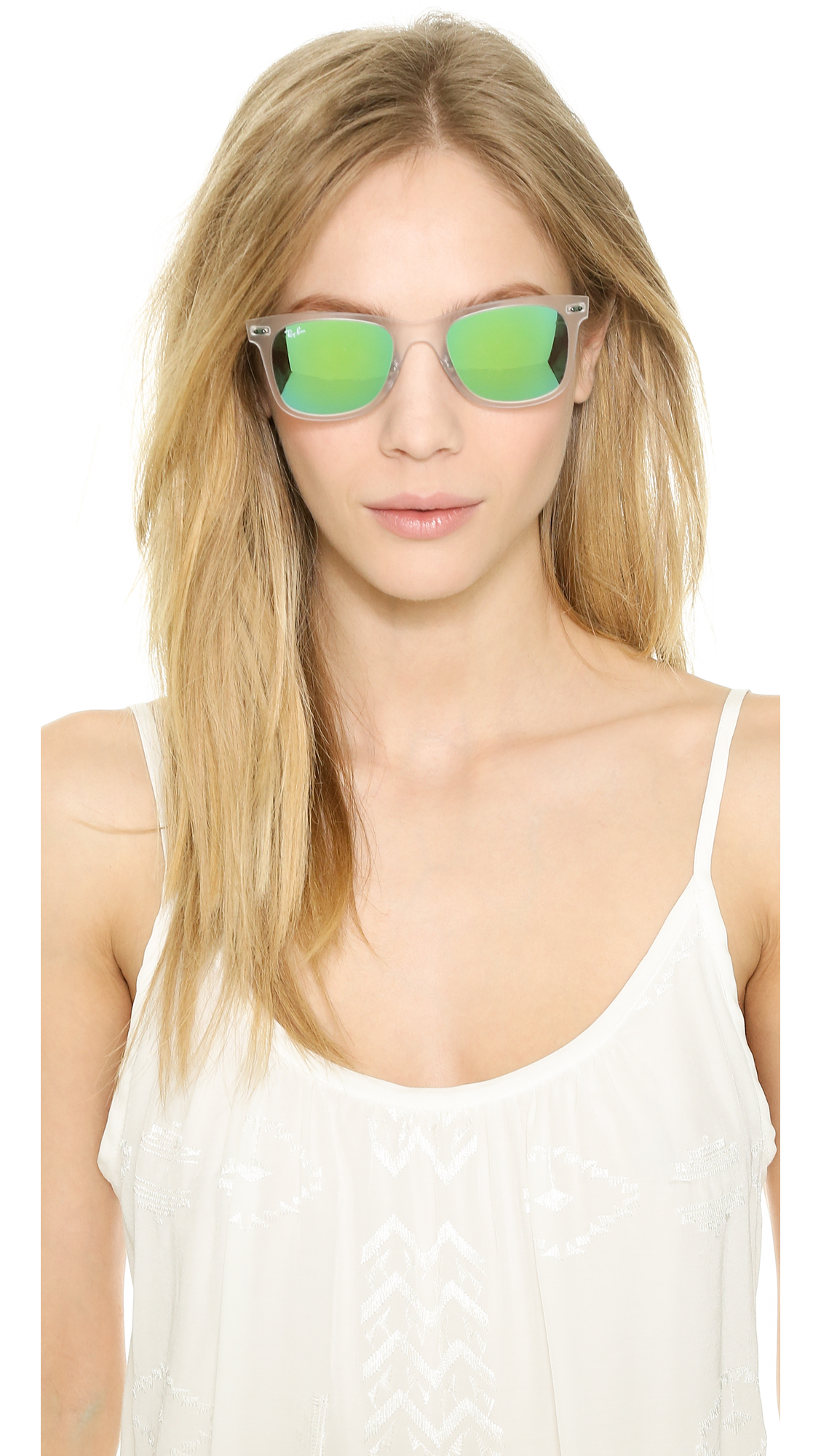 a88f459b9 ... 50% off lyst ray ban tech light sunglasses matte transparent green  mirror 53ead 95551