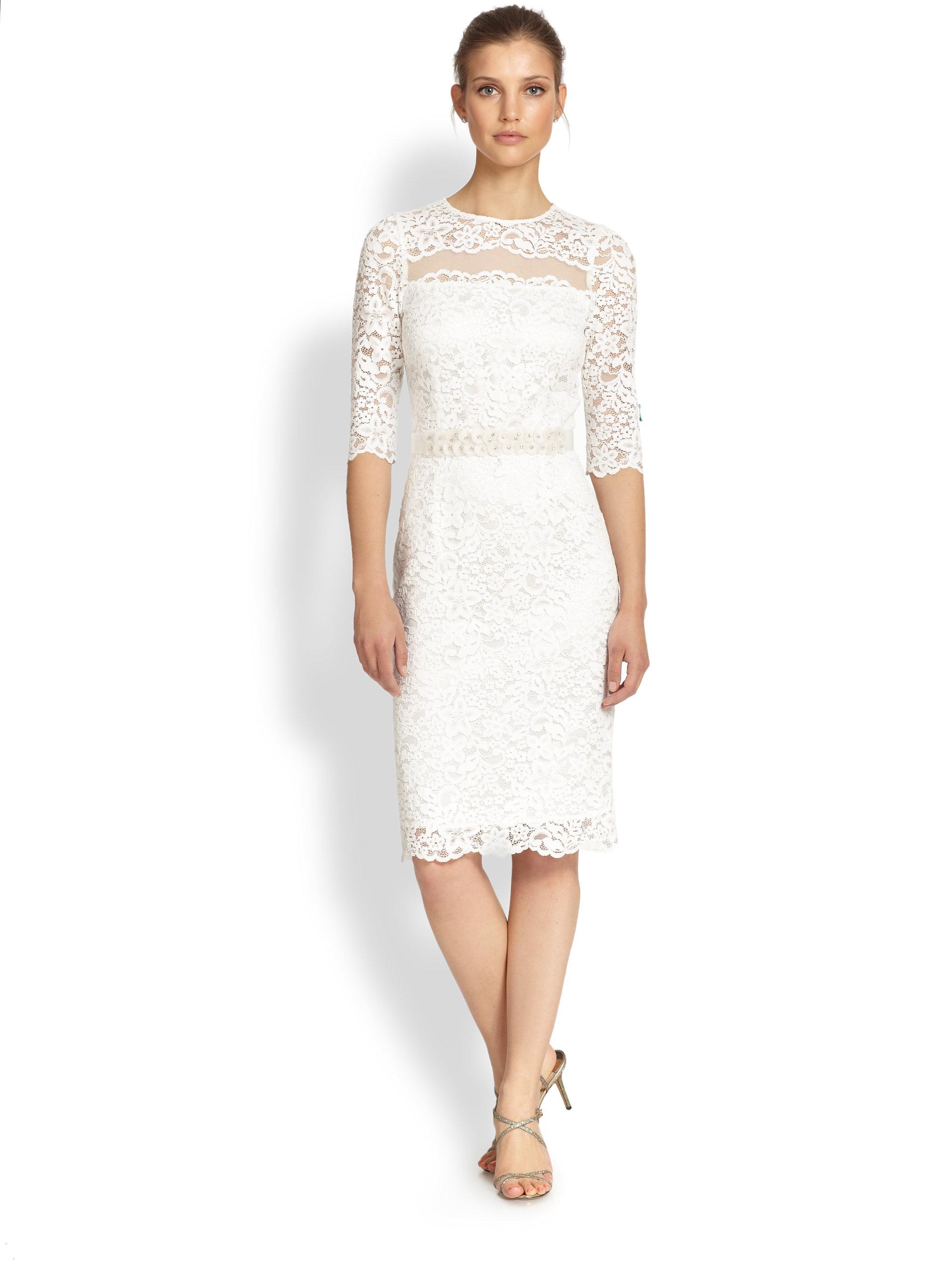 Teri Jon Lace Beadedwaist Dress In White Lyst