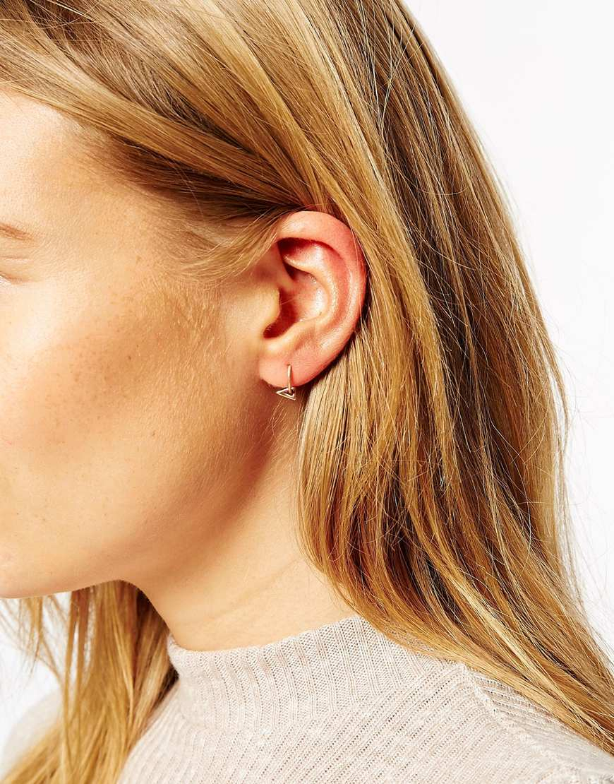 Lyst Asos Rose Gold Plated Sterling Silver Mini Triangle