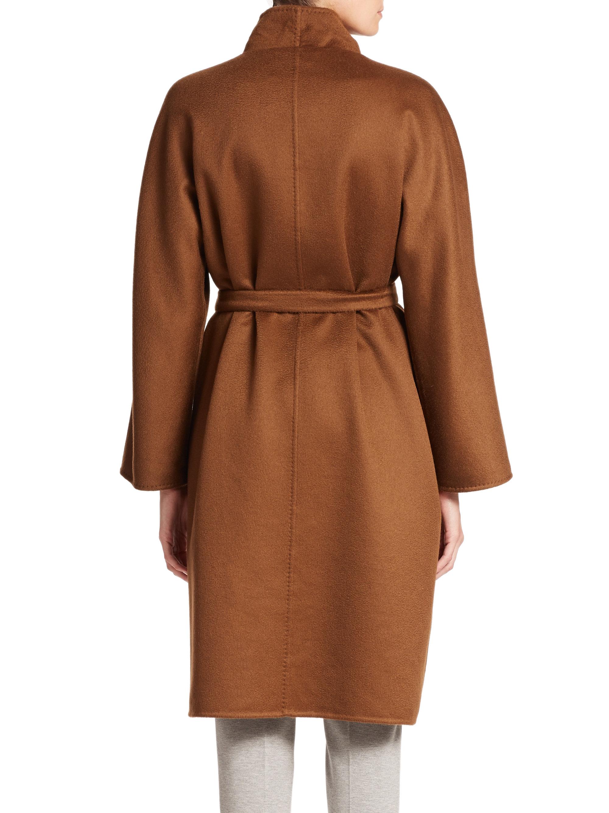 Lyst Max Mara Lilia Cashmere Wrap Coat In Brown
