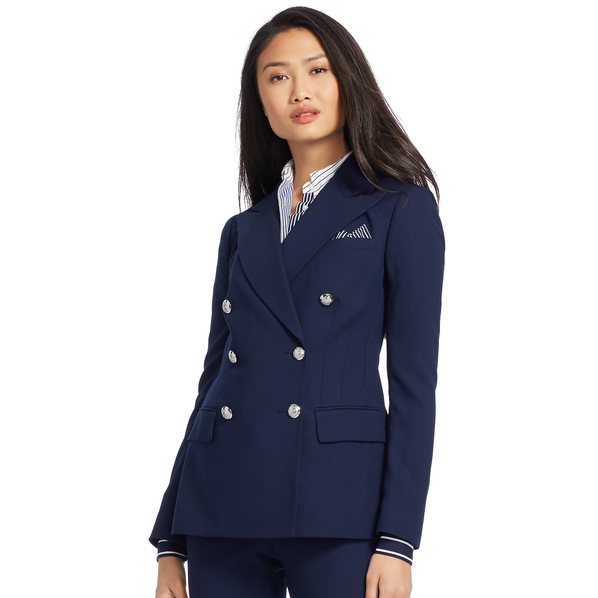 Pink pony Crepe Double-breasted Jacket in Blue | Lyst