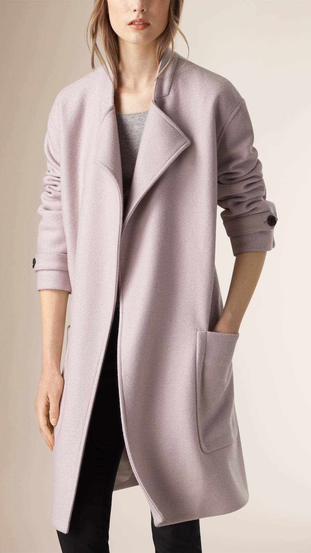 Burberry Wool Belted Wrap Coat in Natural | Lyst