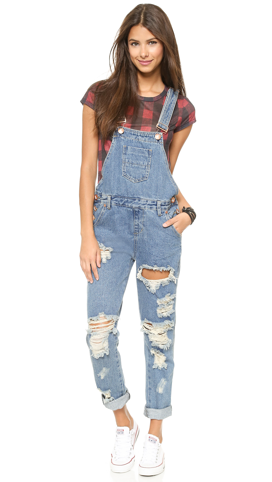 54a9823cfb7 One Teaspoon Wolf Blue Awesome Overalls - Wolf Blue in Blue - Lyst