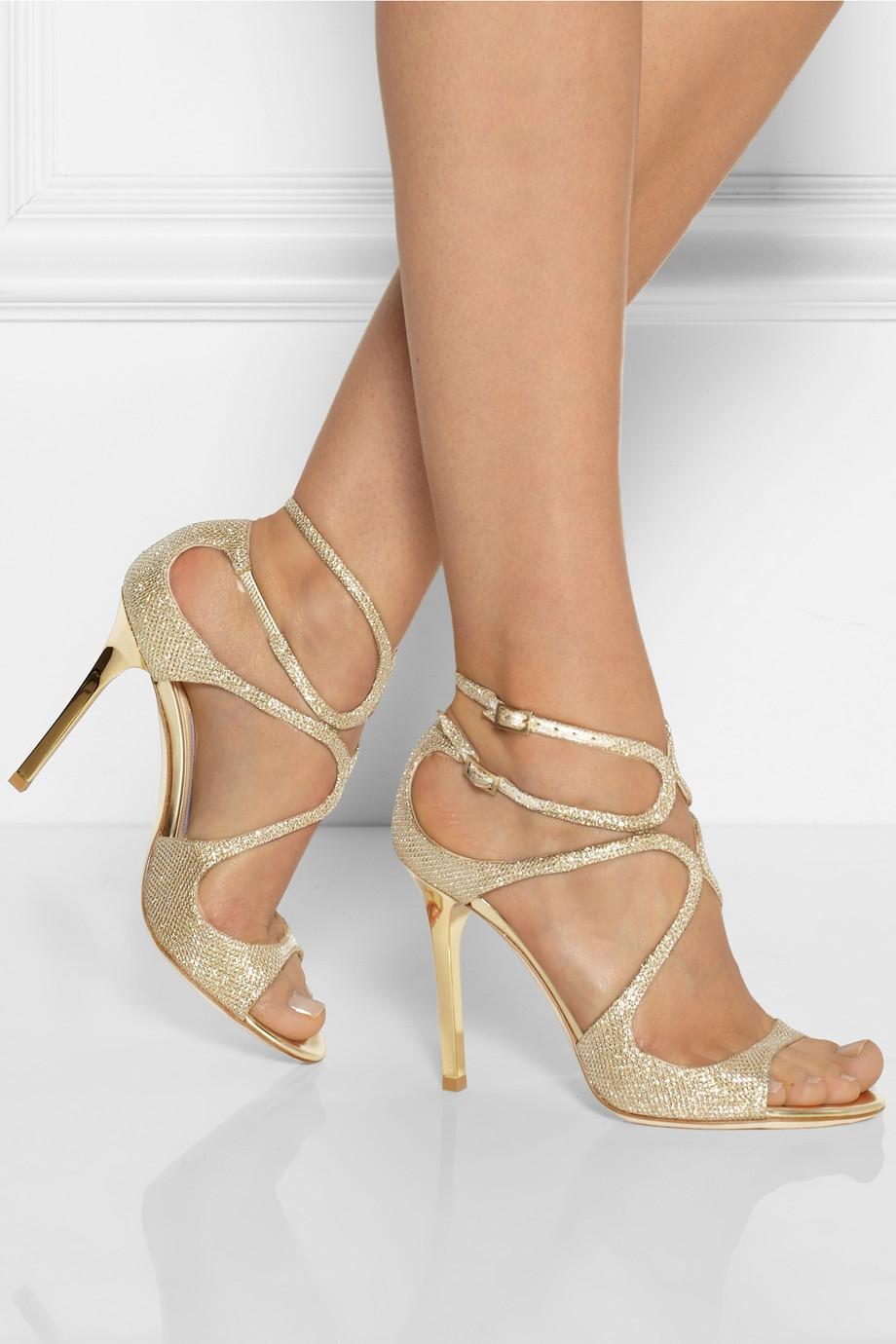 e4f2f8a08efb Lyst - Jimmy Choo Lang Textured-lamé Sandals in Metallic
