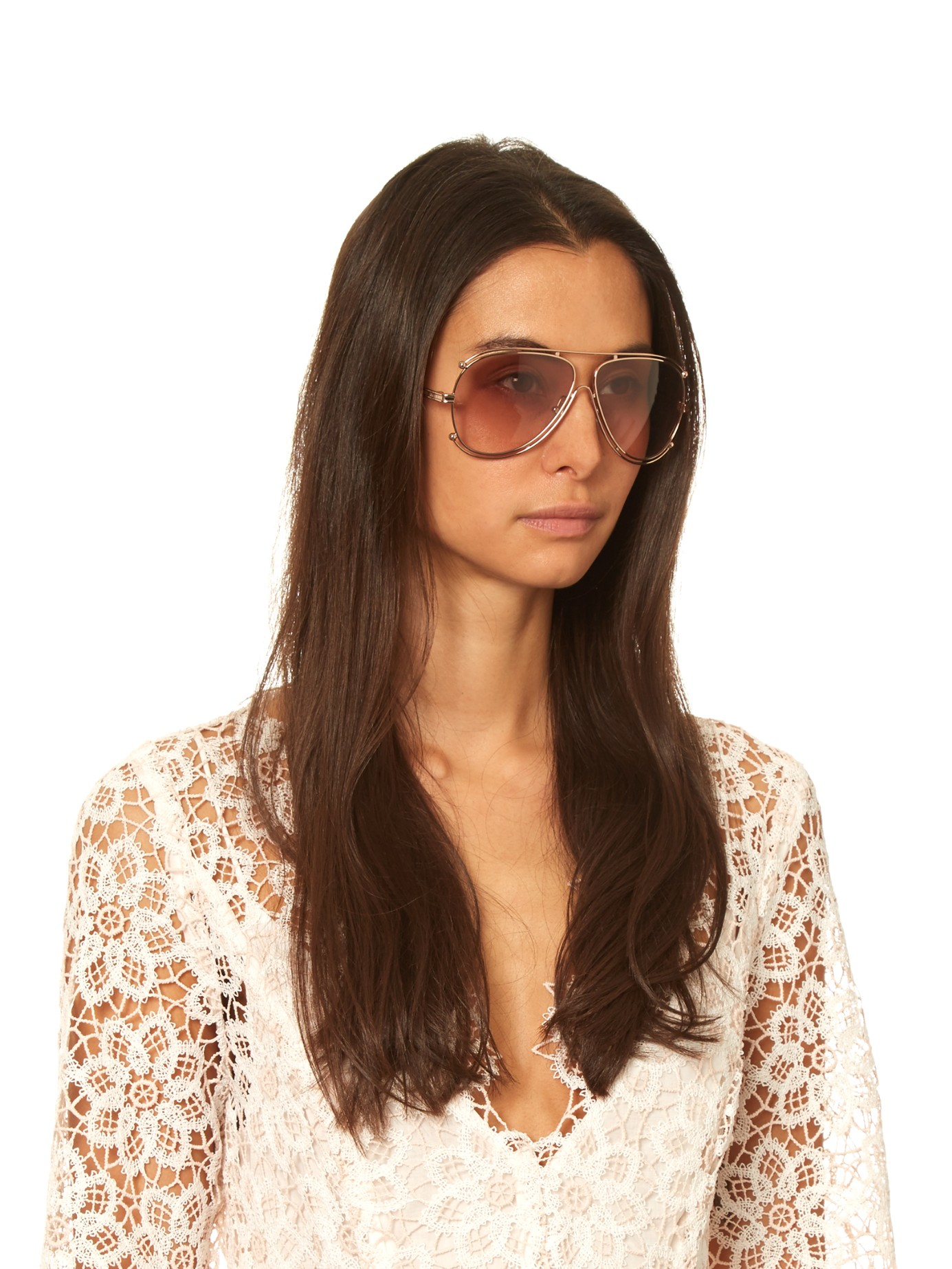 Chloe Aviator Sunglasses  chloé isidora aviator sunglasses in pink lyst