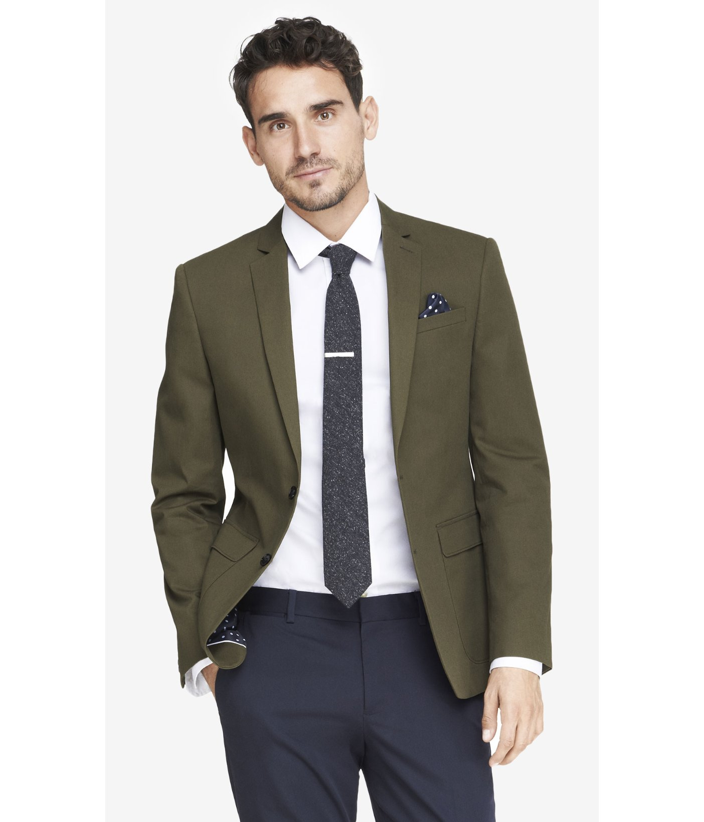 Express Slim Photographer Twill Olive Blazer in Green for Men | Lyst