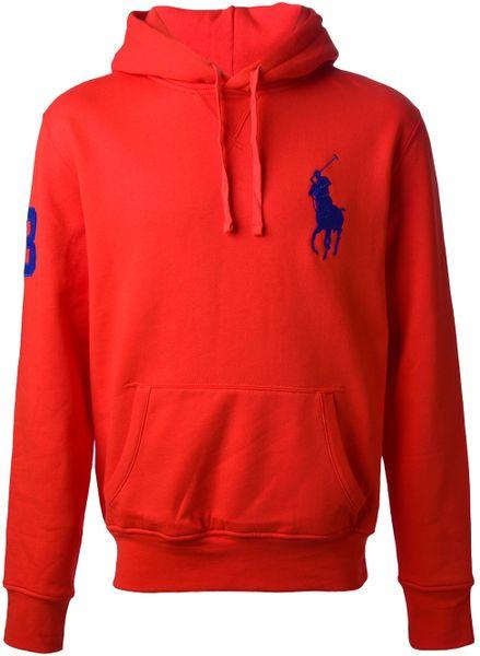 polo ralph lauren logo hoodie in red for men lyst. Black Bedroom Furniture Sets. Home Design Ideas