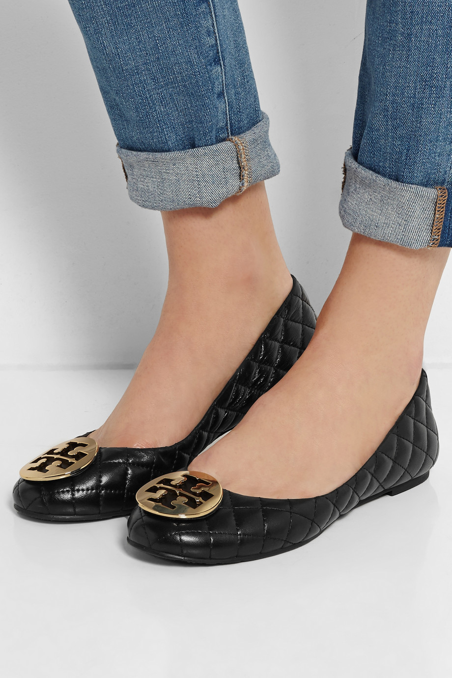 Lyst Tory Burch Quinn Quilted Leather Ballet Flats In Black