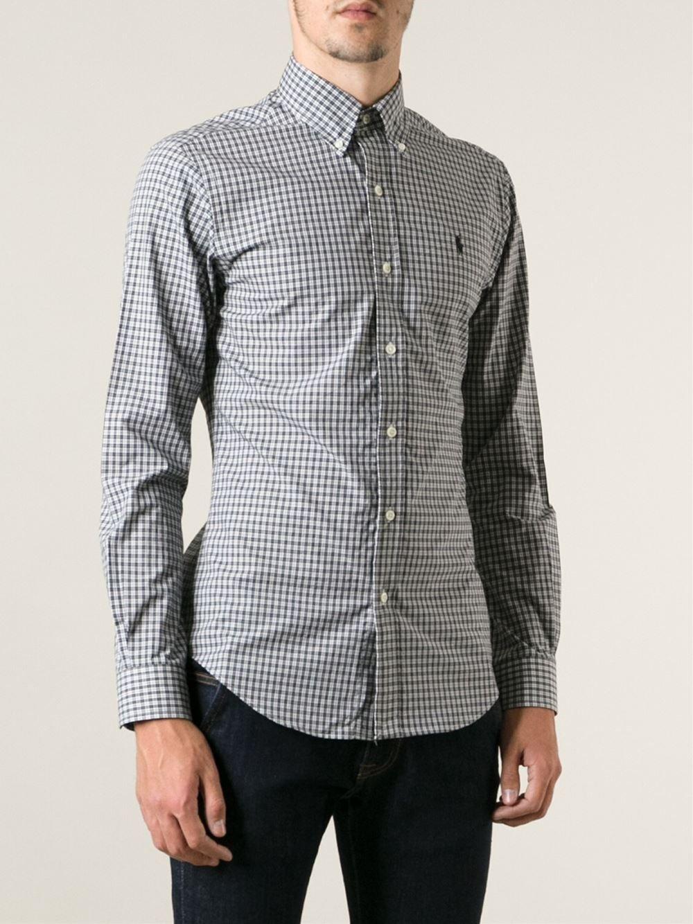 Polo ralph lauren checked button down shirt in black for for Polo ralph lauren casual button down shirts