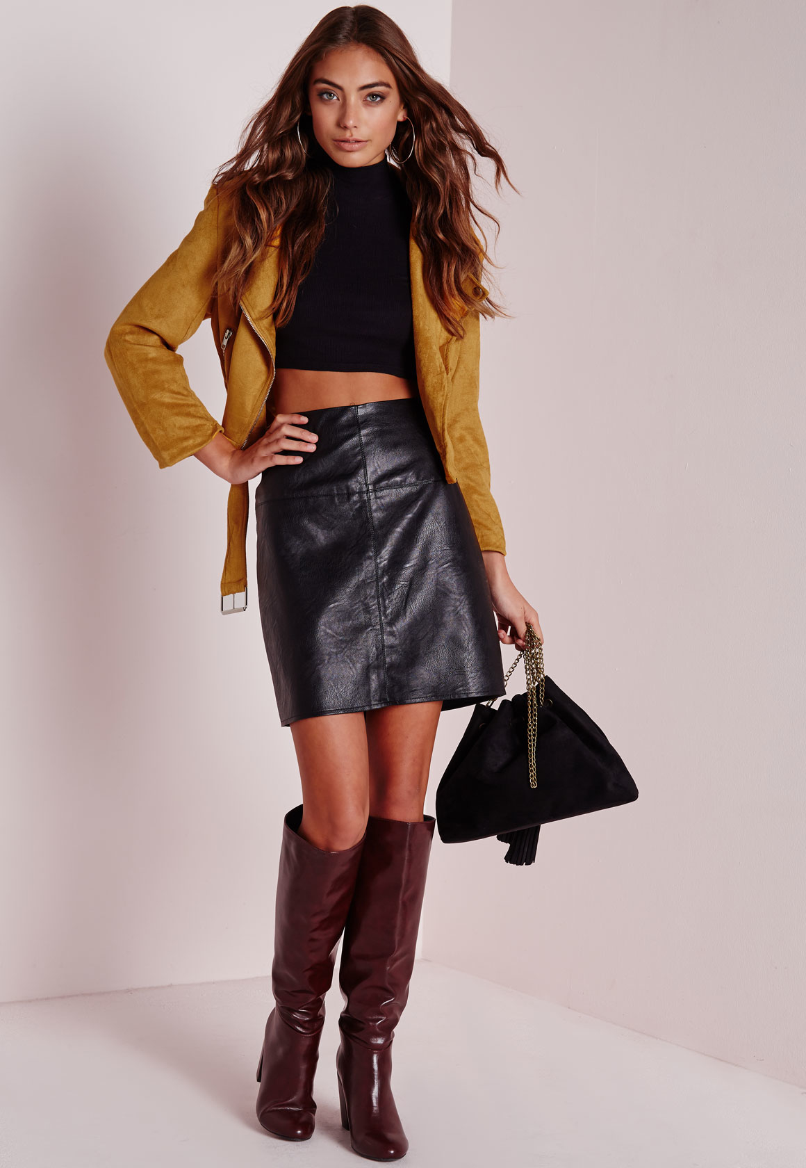 Missguided Faux Suede Belted Biker Jacket Mustard in Yellow - Save ...