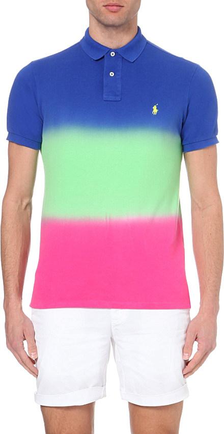 0c1ffb0b ... real lyst ralph lauren dip dye custom fit cotton polo shirt in blue for  men 79401