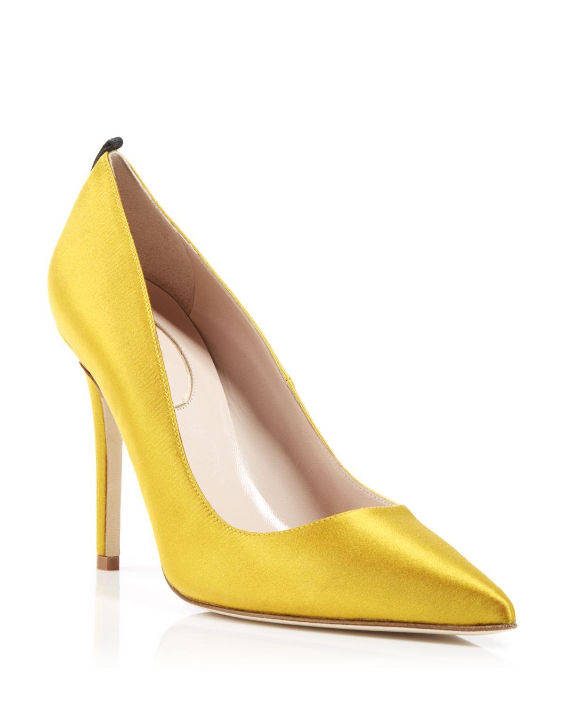 Satin Yellow Heels