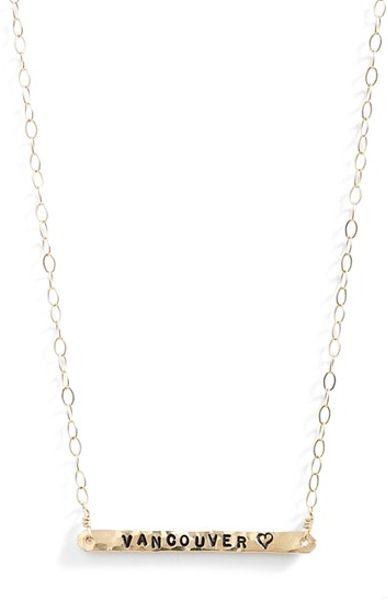 ki ele vancouver engraved pendant necklace in gold