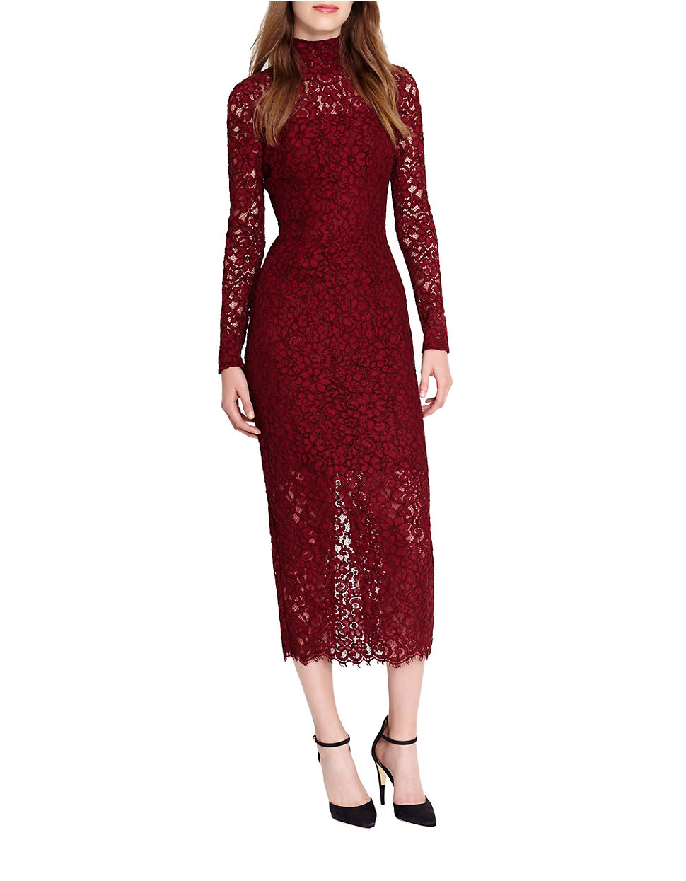 Lyst - Ml monique lhuillier Lace Midi Dress in Purple