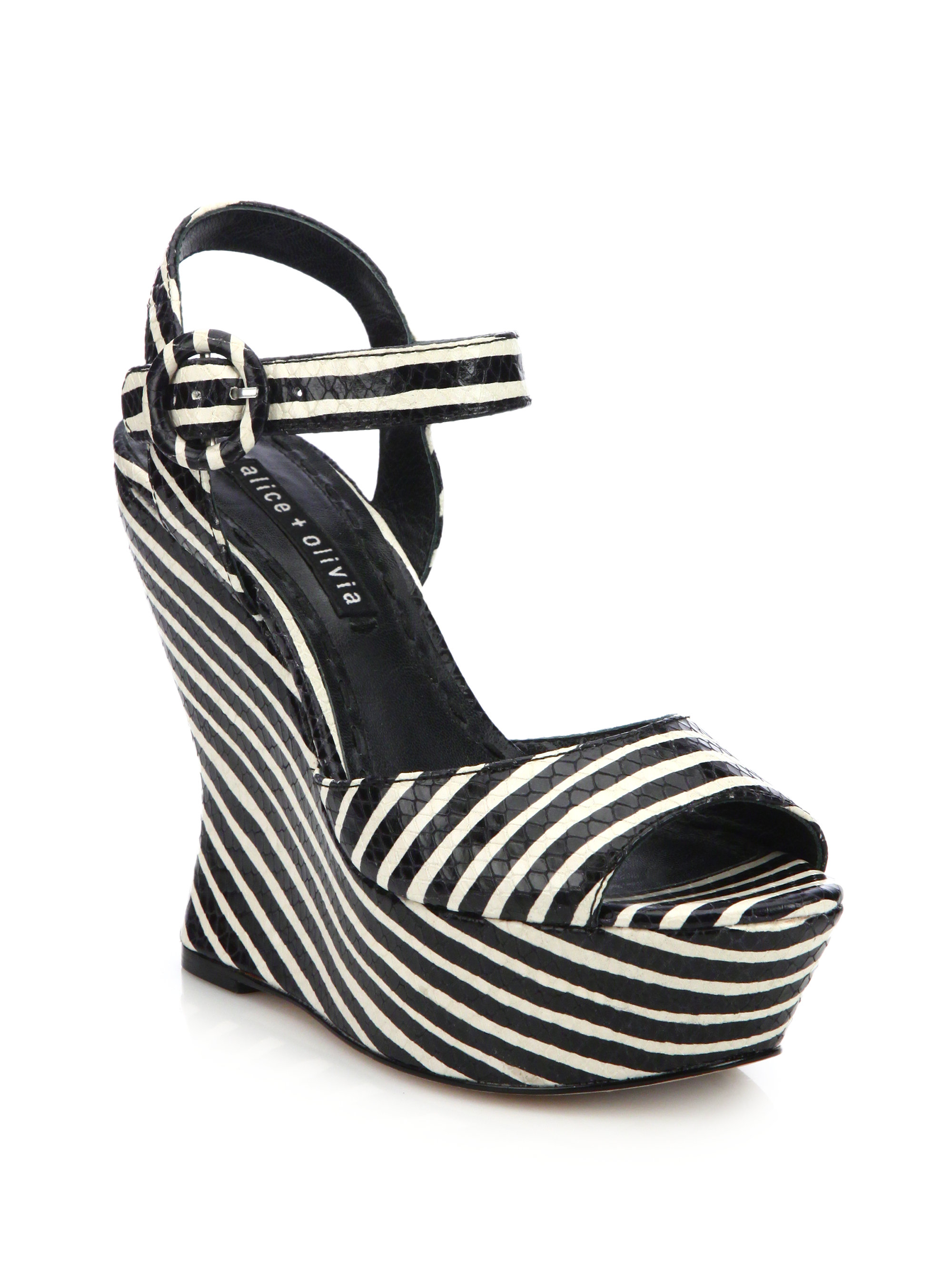 74244e16a880 Lyst - Alice + Olivia Jana Snakeskin-embossed Leather Stripe Wedge ...