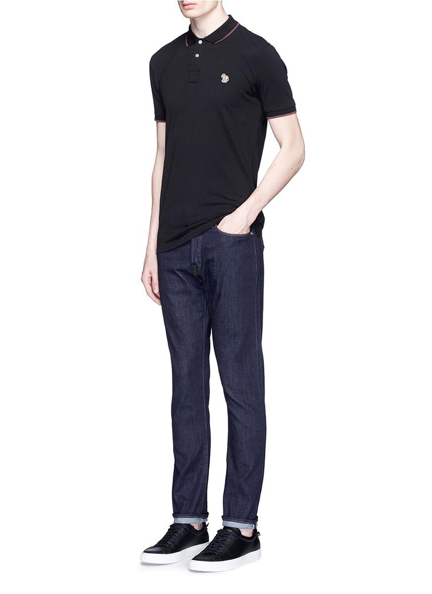941e94c6 Paul Smith Stripe Zebra Logo Piqué Polo Shirt in Black for Men - Lyst
