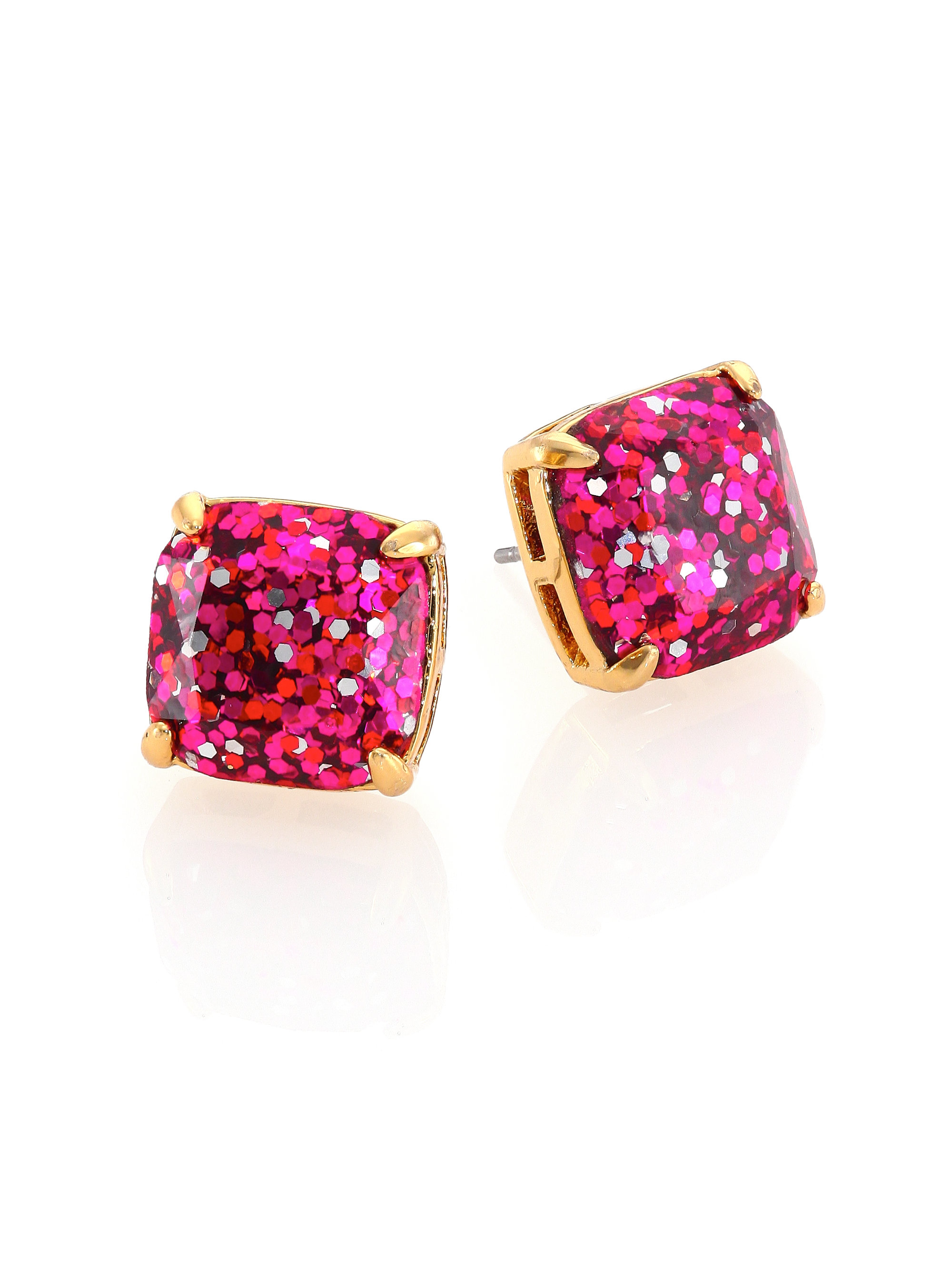 774f41b03 Lyst - Kate Spade Glitter Square Stud Earrings/fucshia in Metallic