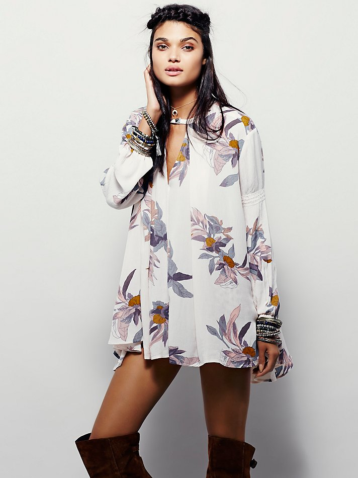 57bf08b5071b Lyst - Free People Large Floral Retro Tunic in White