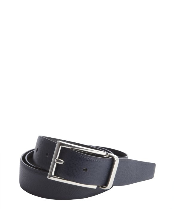 Prada Navy Blue Saffiano Leather Belt in Blue for Men (navy) | Lyst