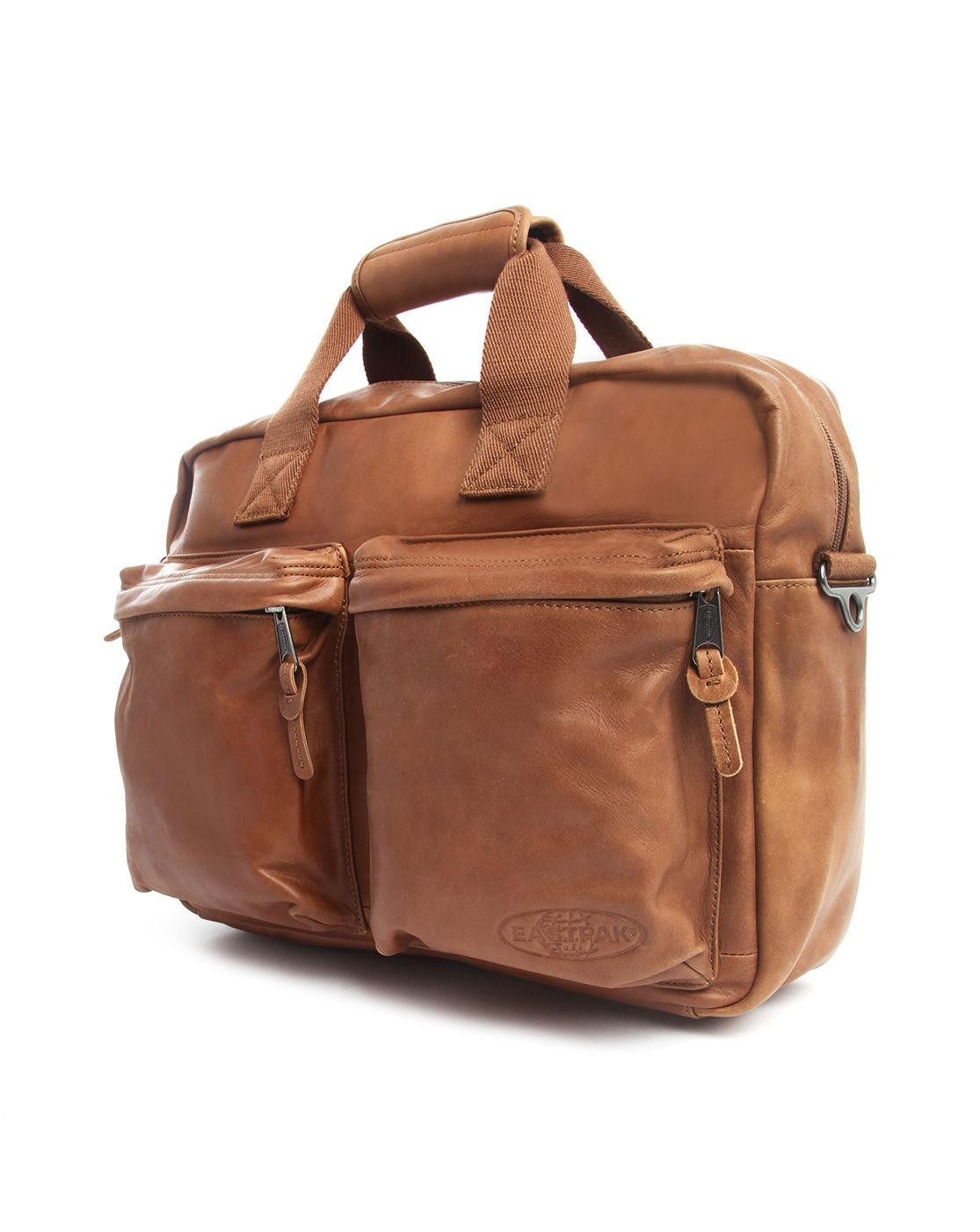 Leather Eastpak Backpack: Eastpak Tomec Camel Leather Day Bag In Brown For Men