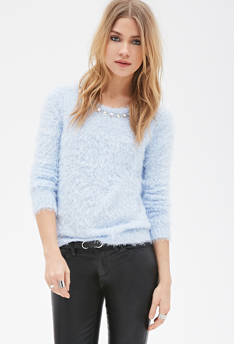 Forever 21 Rhinestoned Fuzzy Knit Sweater in Blue | Lyst