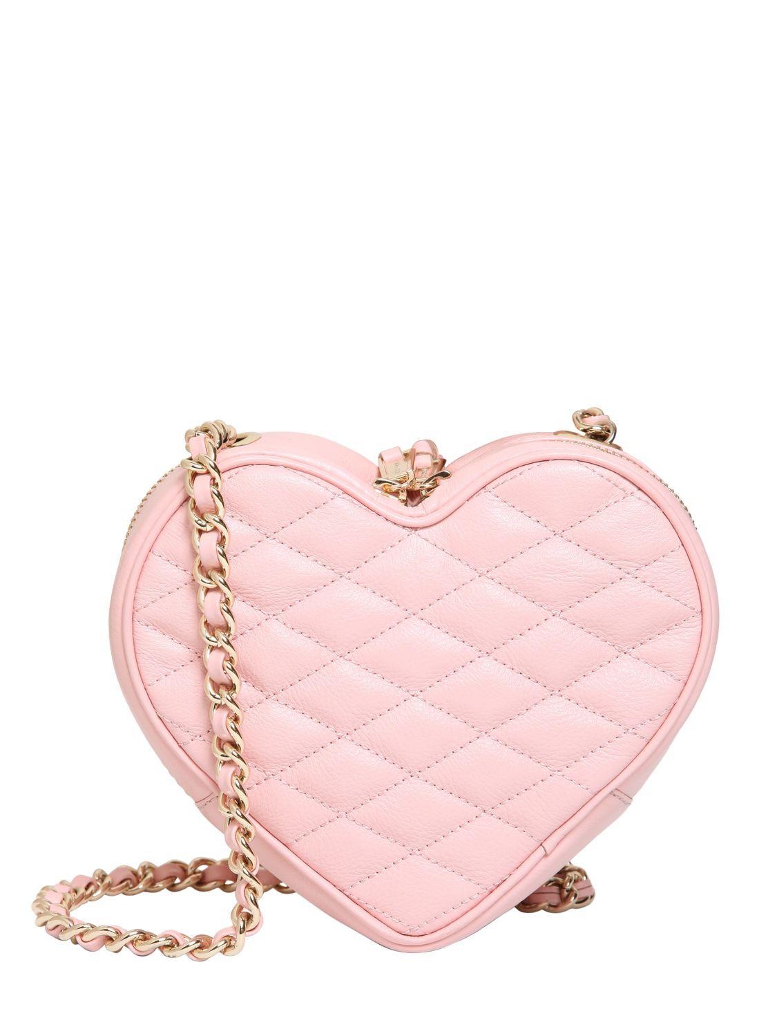 Rebecca Minkoff Heart Quilted Leather Shoulder Bag In Pink