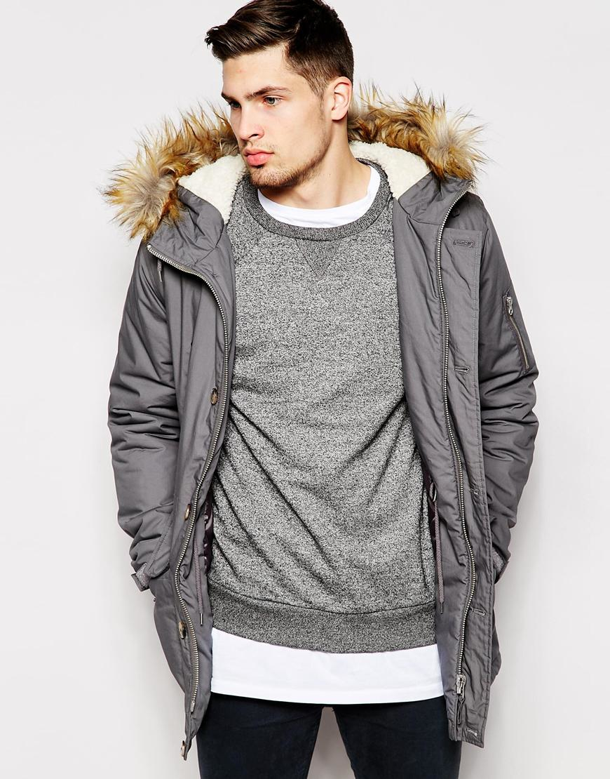 Asos Parka Jacket With Faux Fur Hood In Grey in Gray for Men | Lyst
