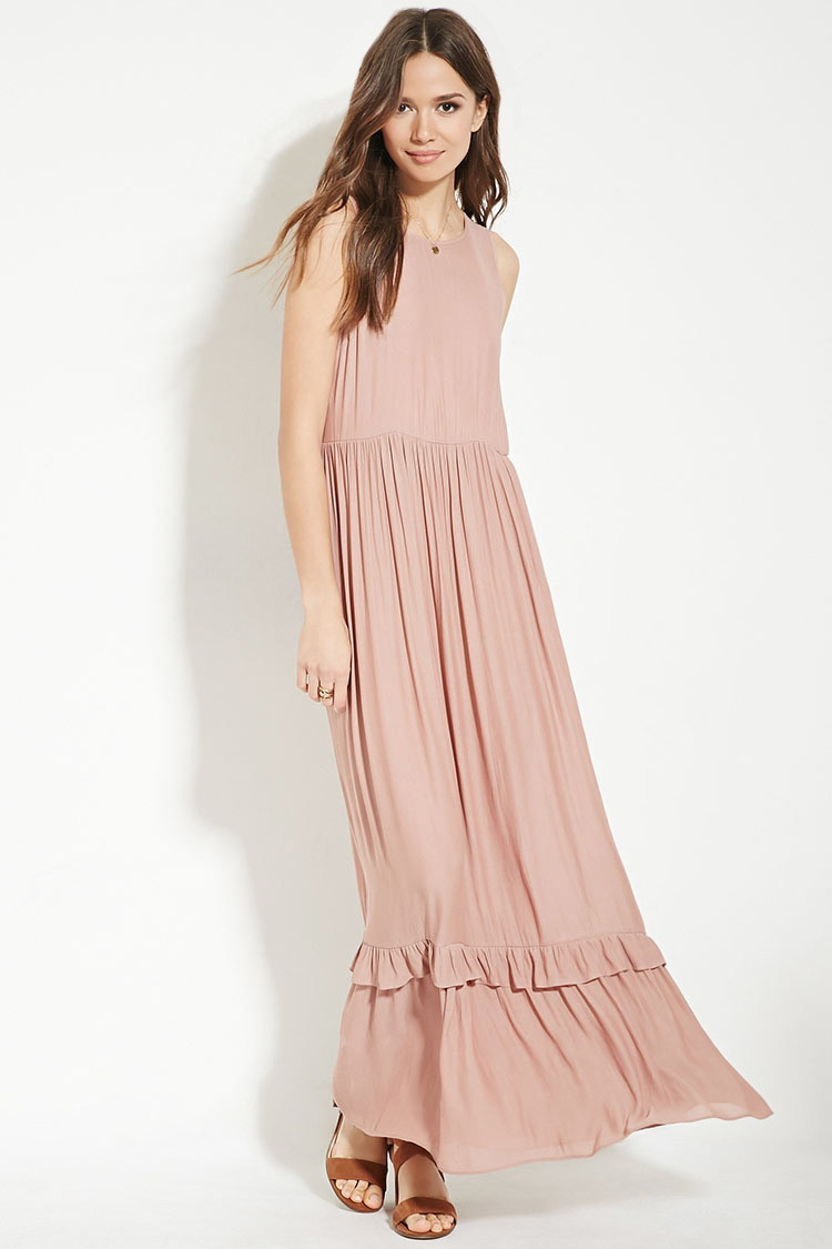 Forever 21 Contemporary Ruffled Maxi Dress in Purple | Lyst