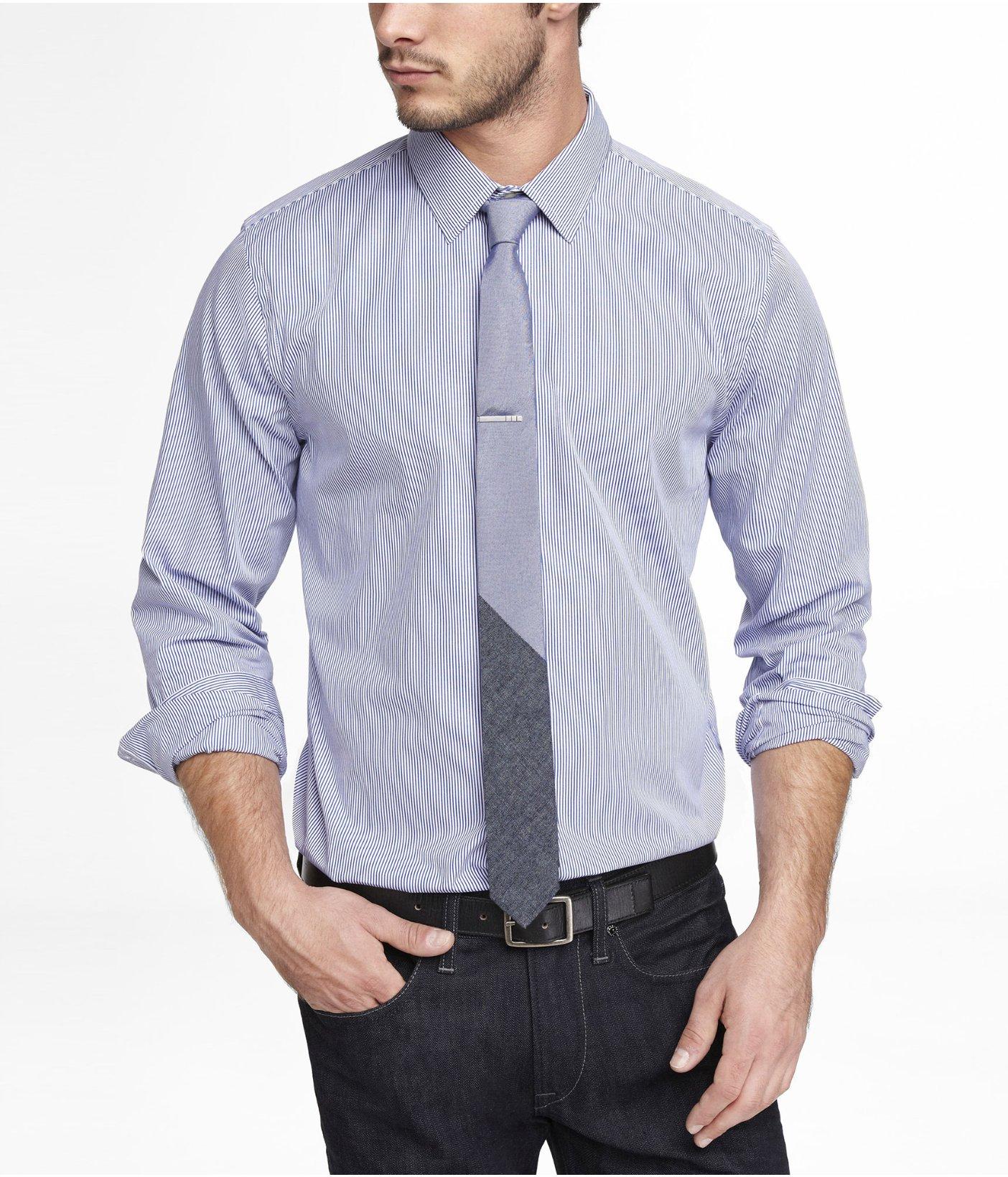 Express extra slim striped dress shirt in blue for men lyst for Extra slim dress shirt