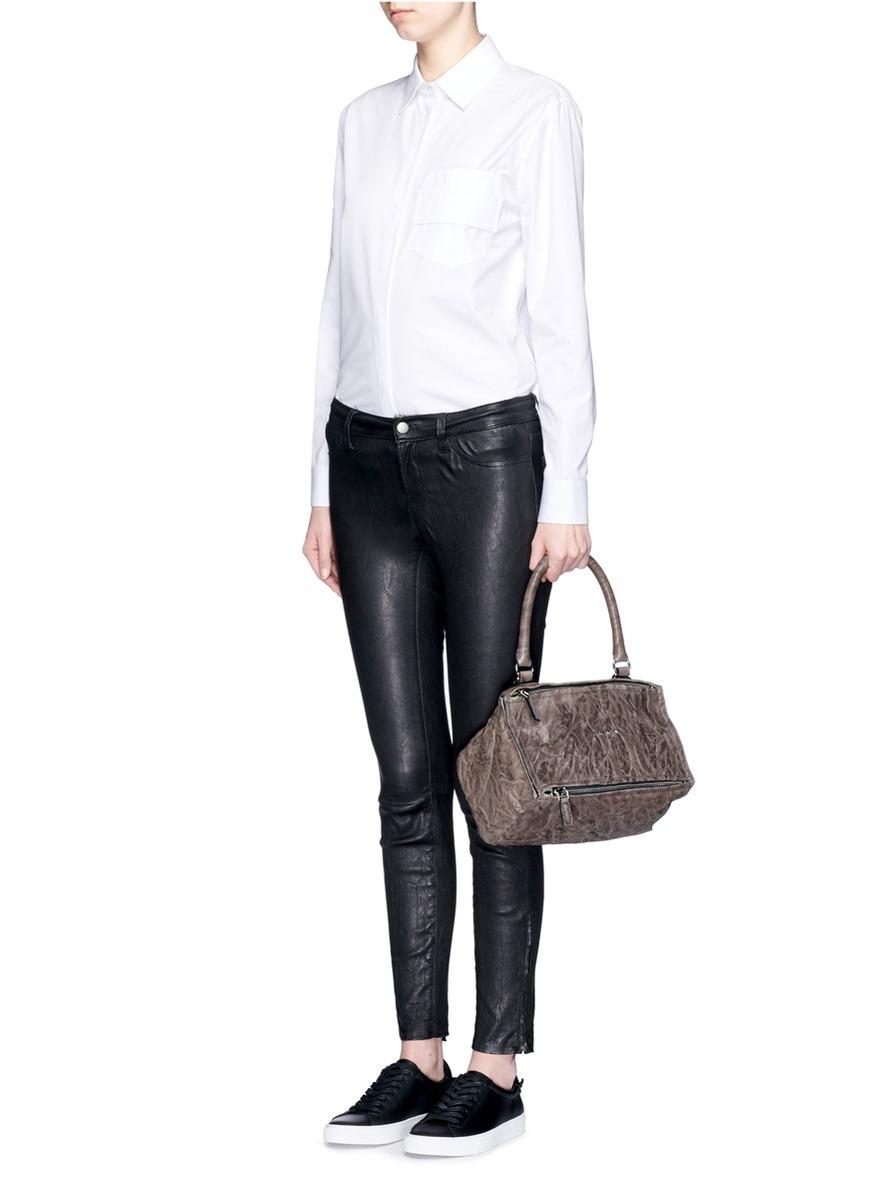 fffe8fb04250 Lyst - Givenchy  pandora  Small Pepe Sheepskin Leather Bag in Gray