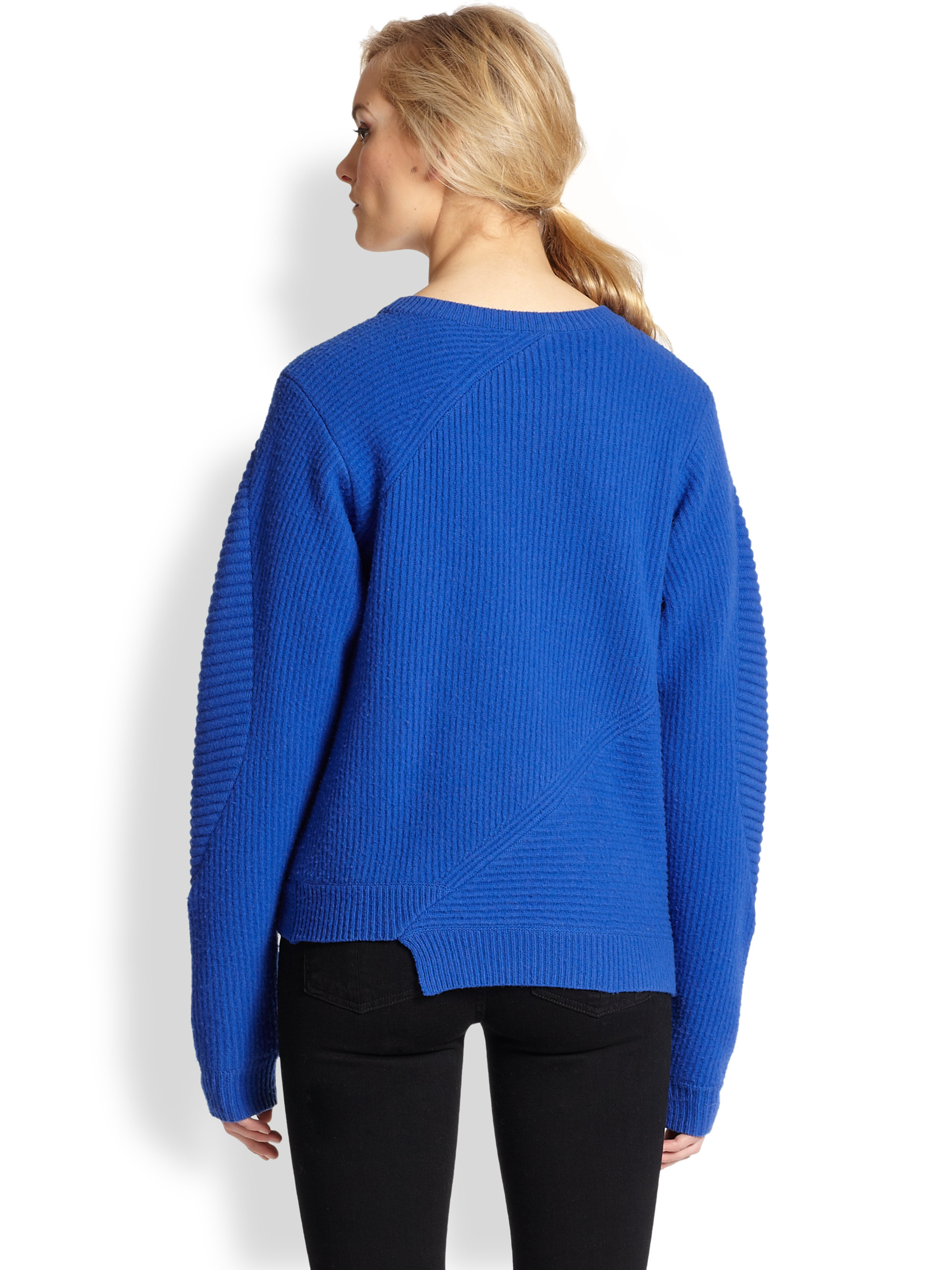 Opening ceremony Asymmetrical Zip Ribbed Wool Sweater in Blue | Lyst