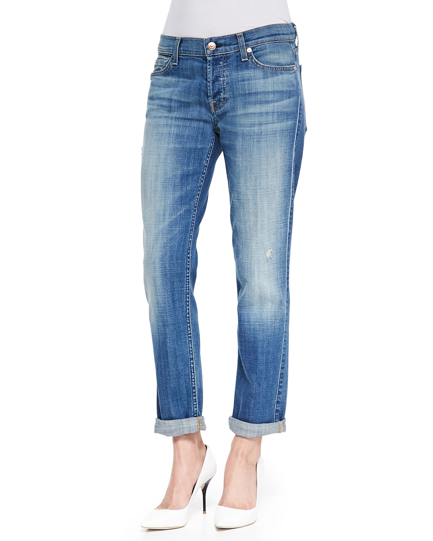 7 for all mankind Josefina Slim Boyfriend Jeans in Blue | Lyst
