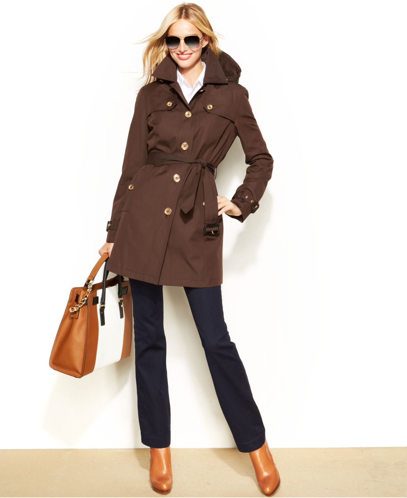 Michael kors Michael Hooded Belted Trench Coat in Brown | Lyst
