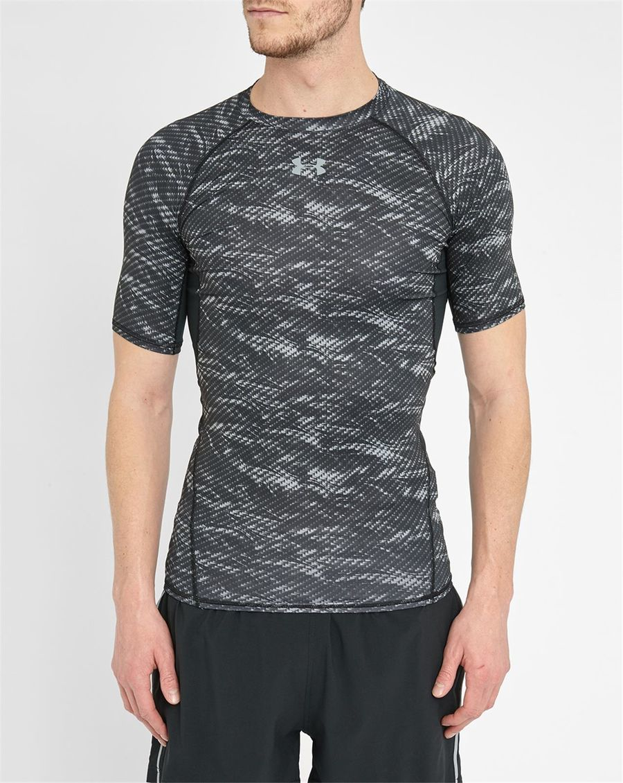 Under armour grey print heatgear compression t shirt in for Gray under armour shirt