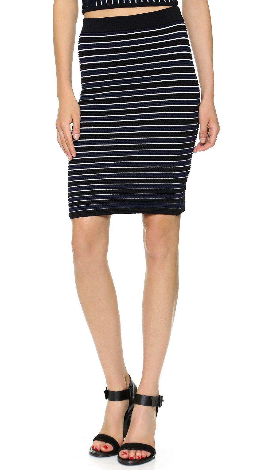 Jonathan Simkhai Knit Ribbed Pencil Skirt - Navy/Black ...