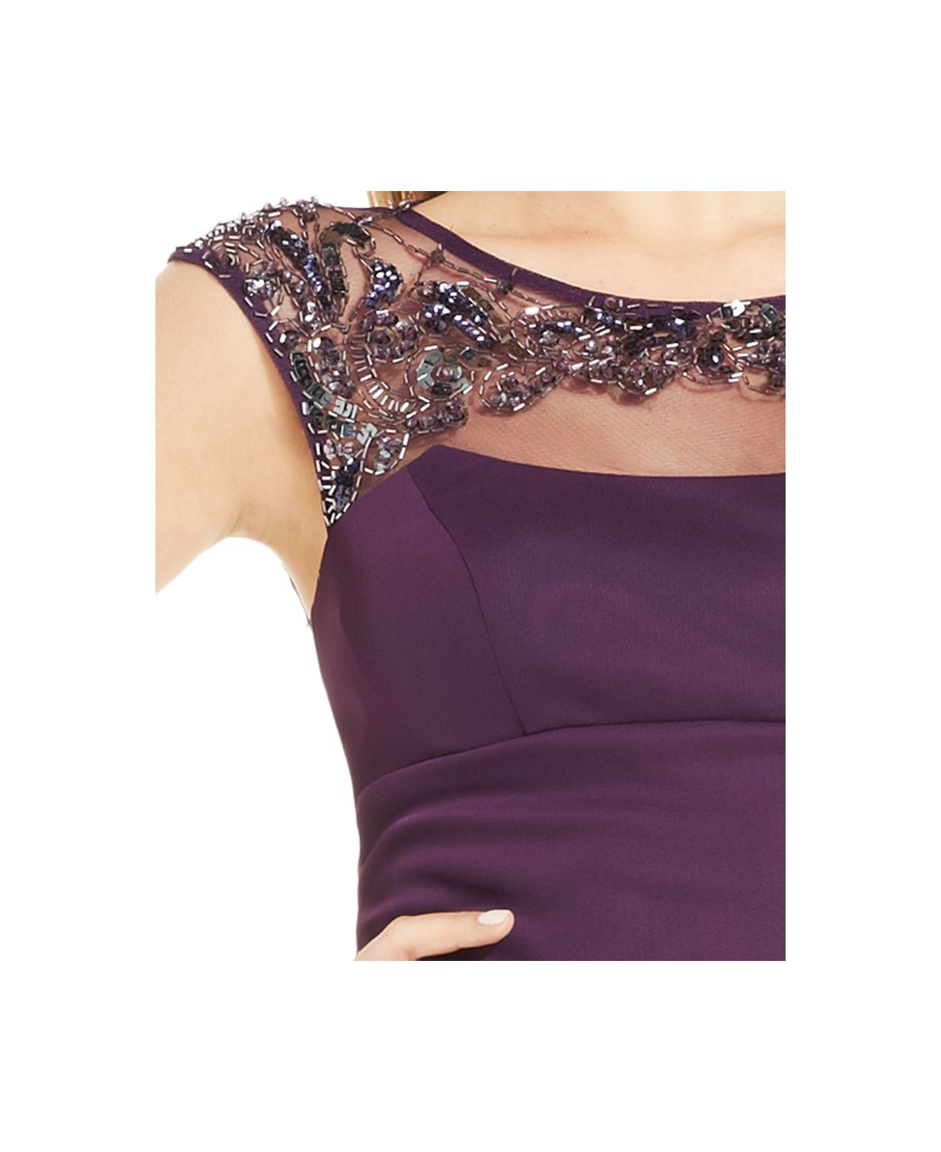 xscape cap sleeve illusion beaded dress plum | ivo hoogveld